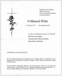 Volkhard Witte, Traueranzeige