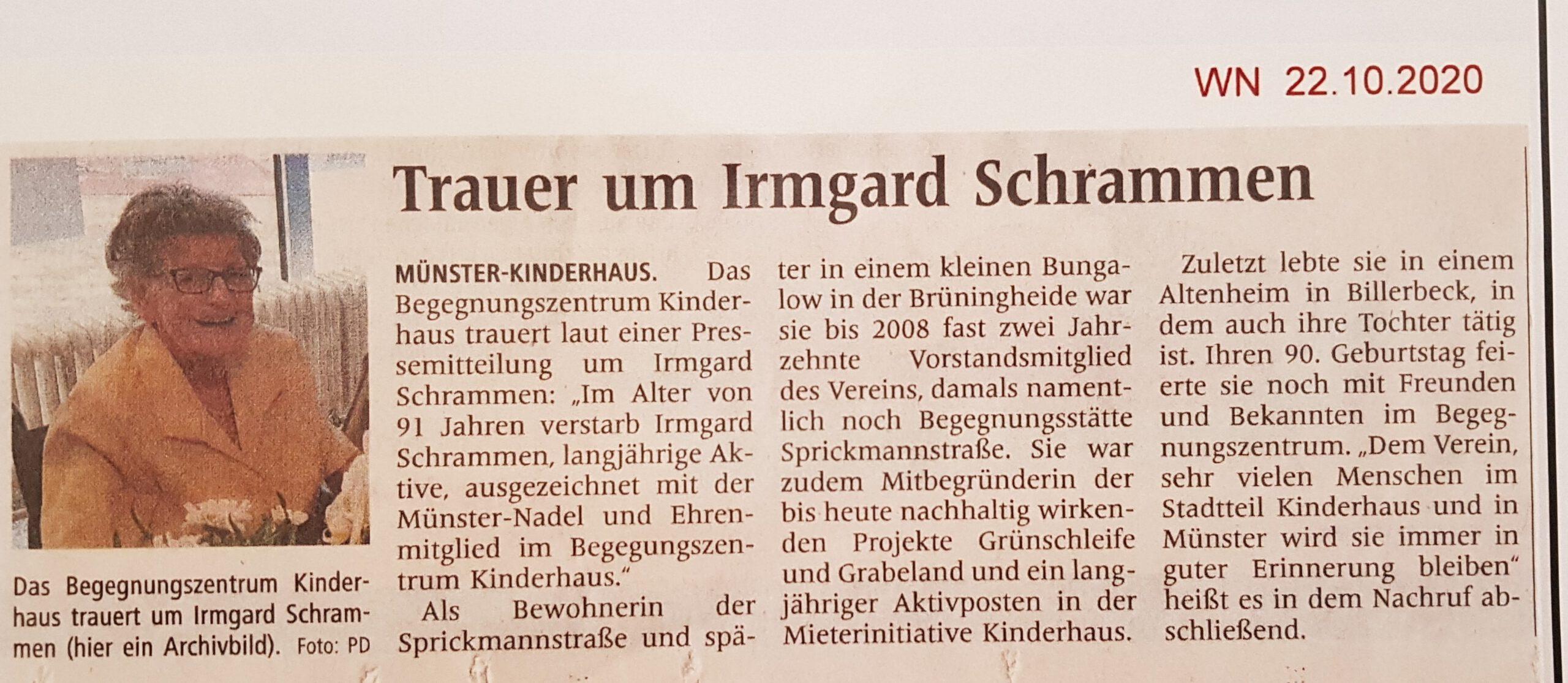 Nachruf der Westfälischen Nachrichten vom 22. Oktober 2020 auf Irmgard Schrammen, Ehrenmitglied und fast zwanzig Jahre lang im Vorstand des Begegnungszentrums Kinderhaus