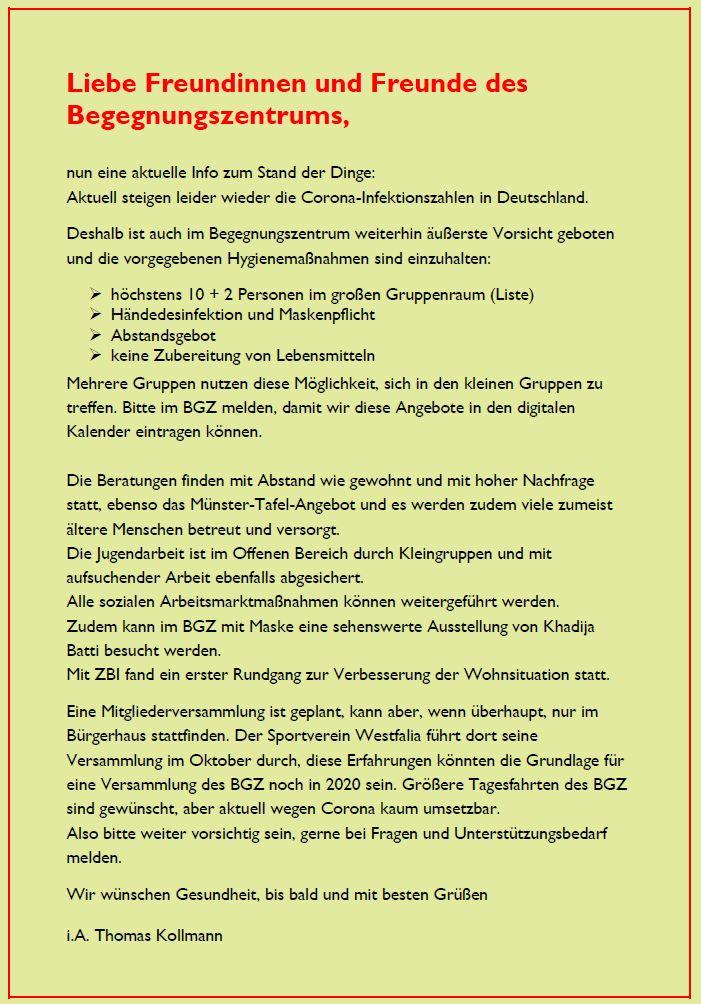 Rundbrief des Begegnungszentrums Kinderhaus e.V. vom 2. Oktober 2020